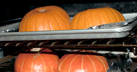 Pumpkins in oven